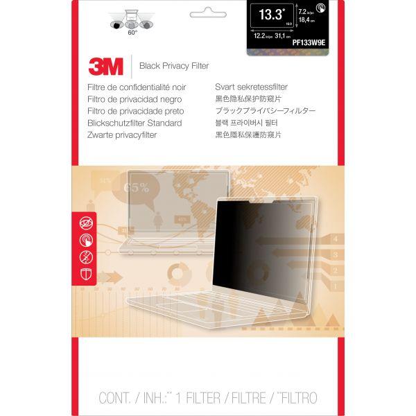 "3M PF133W9E Privacy Filter for Edge-to-Edge 13.3"" Widescreen Laptop Black"