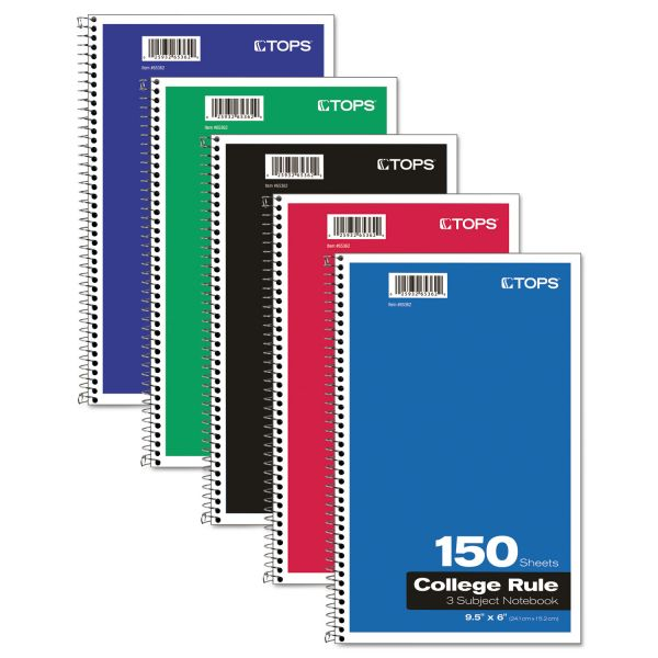 TOPS 3-Subject College Ruled Spiral Notebook