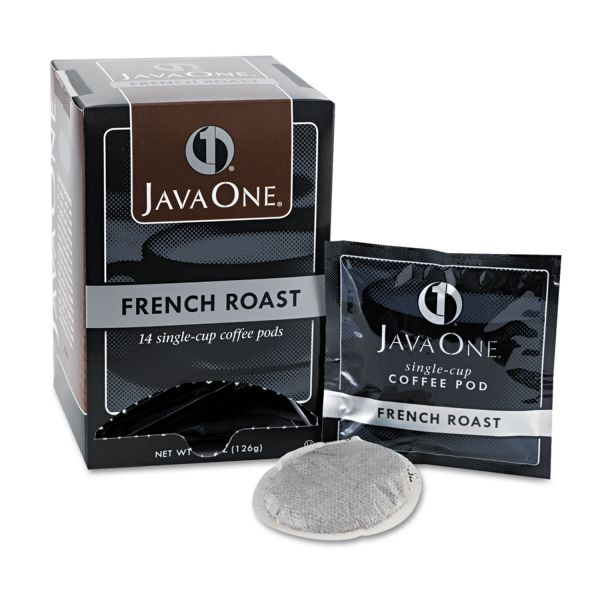Java One Coffee Pods, French Roast Flavor, Dark Roast, Single Cup, 14/Box