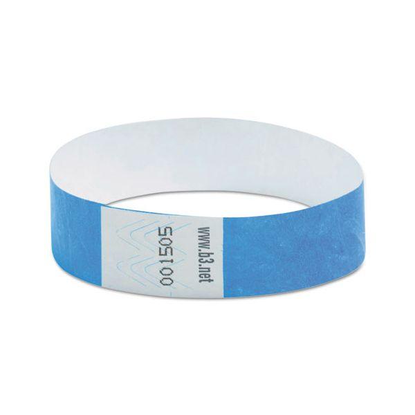 "SICURIX Wristpass Security Wristbands, 3/4"" x 10"", Blue, 100/Pack"