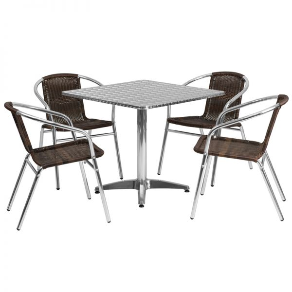 Flash Furniture 31.5'' Square Aluminum Indoor-Outdoor Table with 4 Dark Brown Rattan Chairs