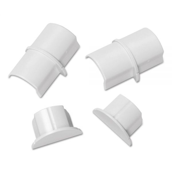 D-Line Smooth Fit Connector and End Cap Pack, White, 2 Connectors, 2 Endcaps per Pack