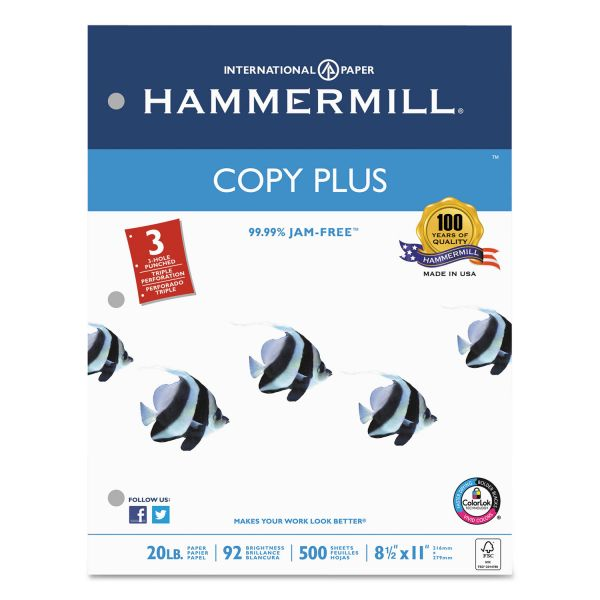 Hammermill Three-Hole Punched Copy Plus White Copy Paper