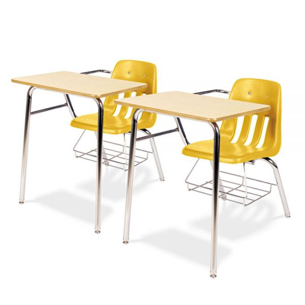 9400 Classic Series Chair Desks, Squash, Fusion Maple Laminate Top, 2/Ctn