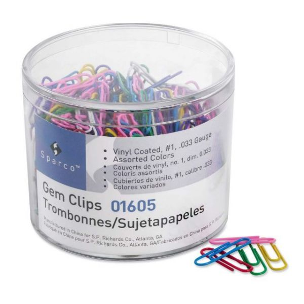 Sparco #1 Vinyl-Coated Paper Clips