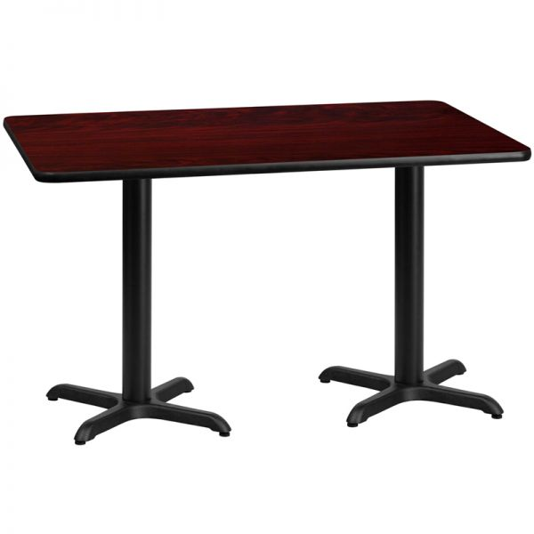 Flash Furniture 30'' x 60'' Rectangular Mahogany Laminate Table Top with 22'' x 22'' Table Height Bases