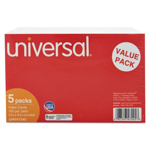 "Universal 5"" x 8"" Blank Index Cards"