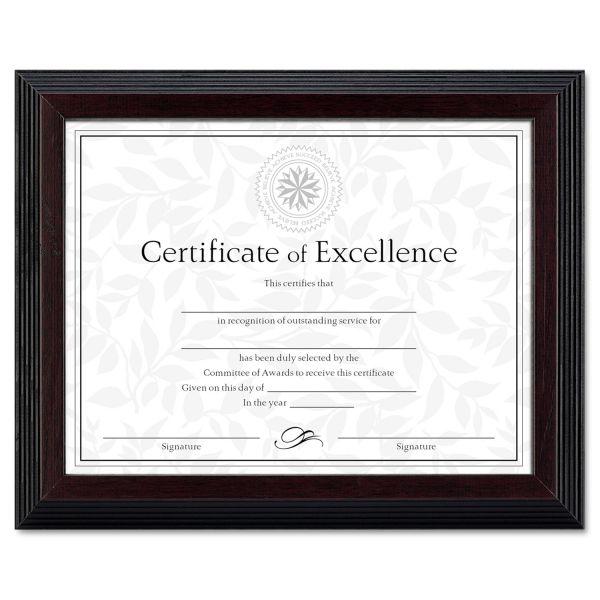 DAX Stepped Award/Certificate Frame, 8 1/2 x 11, Black w/Walnut Trim