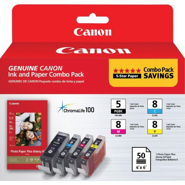 Canon PGI-5 Black/CLI-8 Color Ink Cartridge & Photo Paper Combo Pack