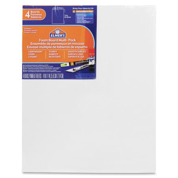 Elmer's White Pre-Cut Foam Board Multi-Packs, 11 x 14, 4/PK