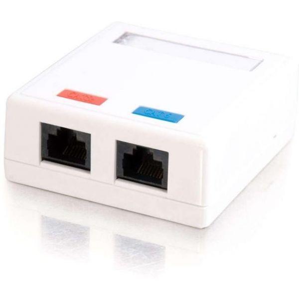 C2G 2-Port Cat5E Surface Mount Box - White