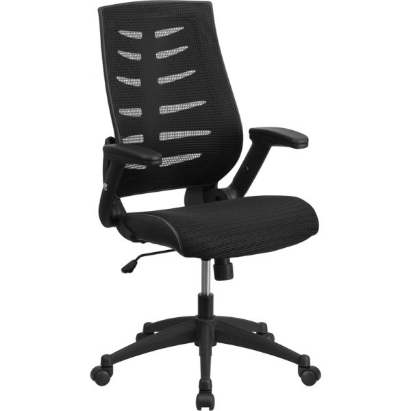 Flash Furniture High Back Designer Mesh Office Chair with Height Adjustable Flip-Up Arms