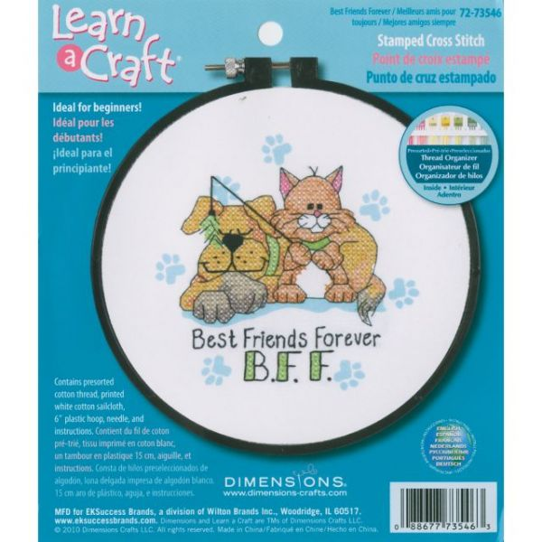 Dimensions Learn-A-Craft Best Friends Forever Stamped Cross Stitch Kit