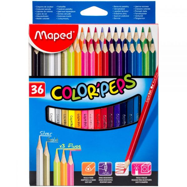 Color'Peps Triangular Colored Pencils 36/Pkg