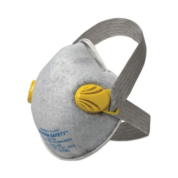 Jackson Safety* R20 P95 Particulate Respirator w/Nuisance Level Organic Vapor Relief,Yellow,80CT