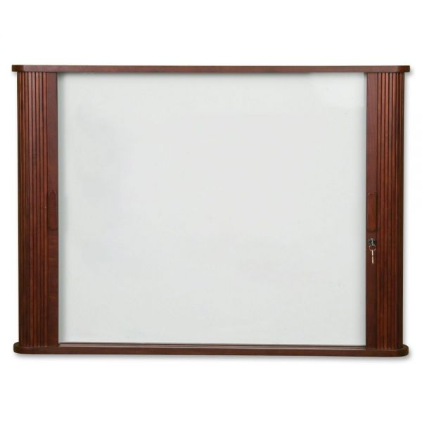 Best-Rite Wood Conference Room Cabinet, Dry Erase/Cork Boards, 48 x 5 x 48, Mahogany