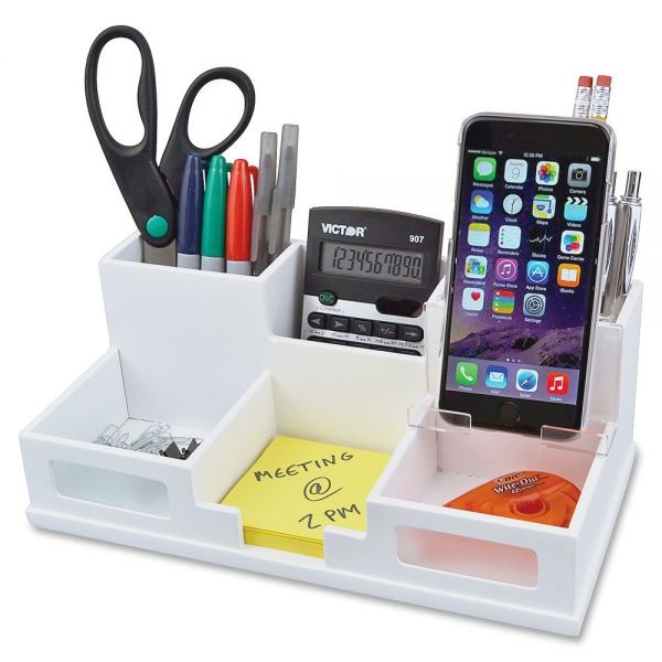 Victor Pure White Collection Wood Desk Organizer with Smart Phone Holder