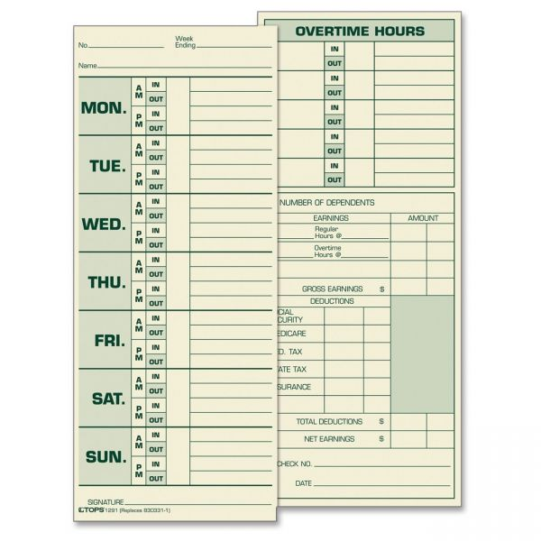 TOPS Double-Sided Weekly Time Cards
