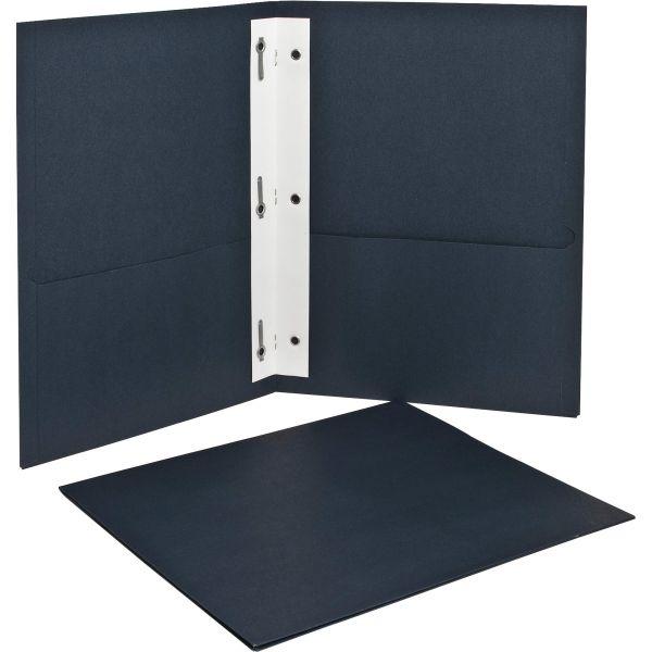 Oxford Twin-Pocket Folders with 3 Fasteners, 135-Sheet Capacity, Dark Blue, 25/Box