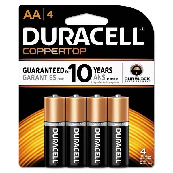 Duracell CopperTop Alkaline Batteries with Duralock Power Preserve Technology, AA, 4/Pk