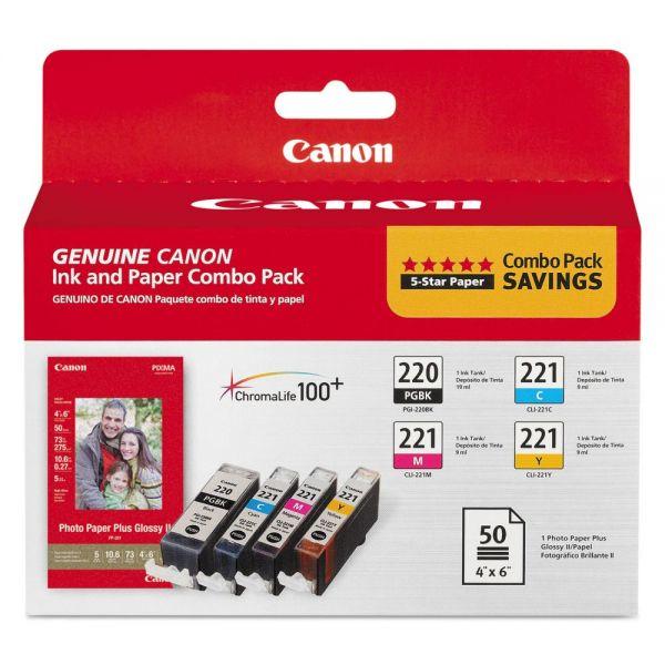 Canon PGI-220 Black/CLI-221 Color Ink & Photo Paper Combo Pack (2945B011)