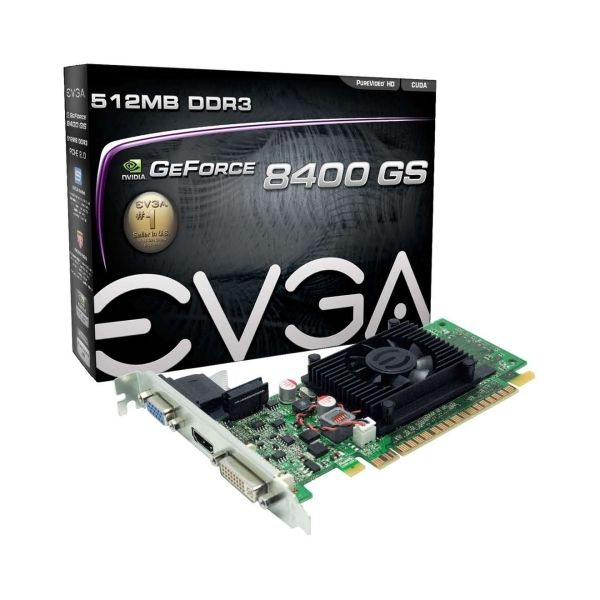 EVGA 512-P3-1300-LR GeForce 8400 GS Graphic Card - 520 MHz Core - 512 MB DDR3 SDRAM - PCI Express 2.0 - Low-profile - Single Slot Space Required