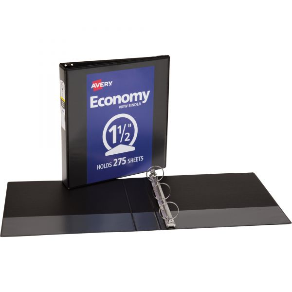 "Avery Economy 3-Ring View Binder, 1 1/2"" Capacity, Round Ring, Black"