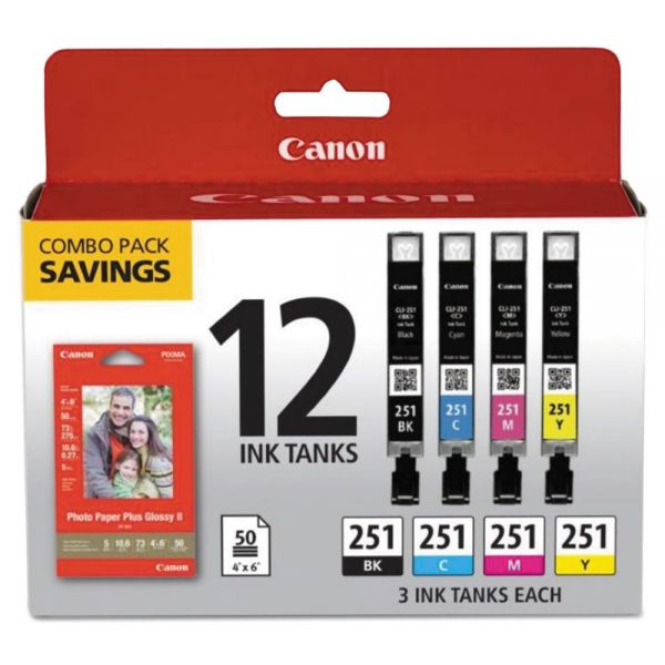 Canon 6513B010 (CLI-251) Ink & Paper Combo Pack, Black/Cyan/Magenta/Yellow