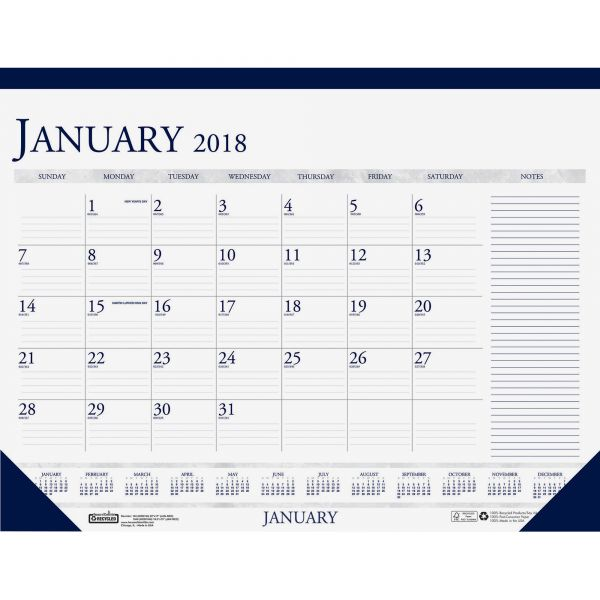 House of Doolittle Blue/Gray Print Monthly Desk Pad