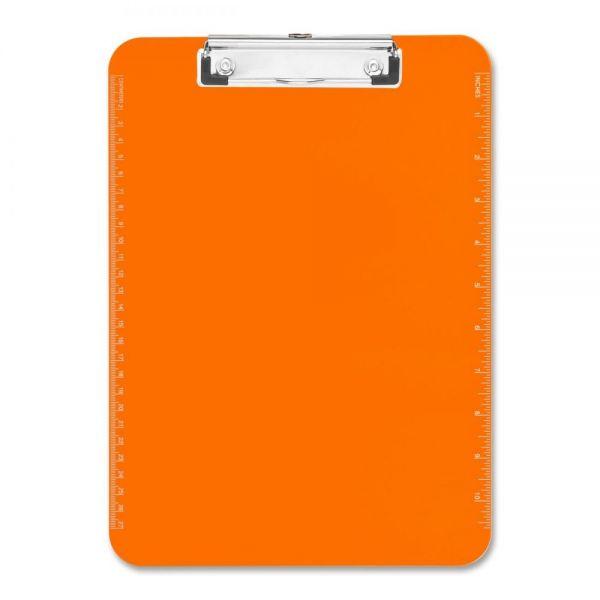 Sparco Plastic Translucent Neon Orange Clipboard
