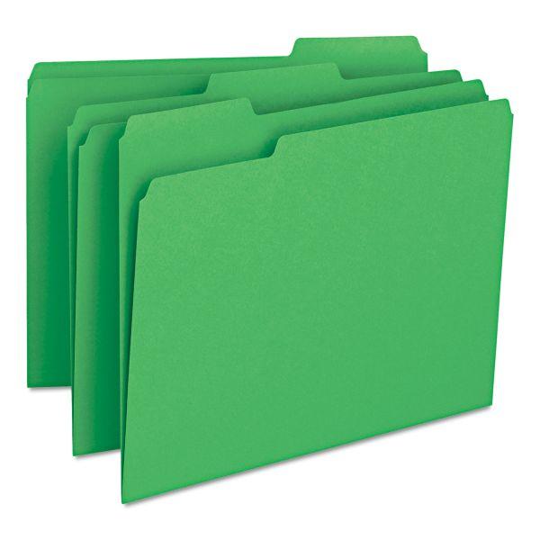 Smead File Folders, 1/3 Cut Top Tab, Letter, Green, 100/Box