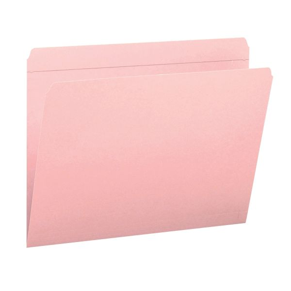 Smead 12610 Pink Colored File Folders with Reinforced Tab