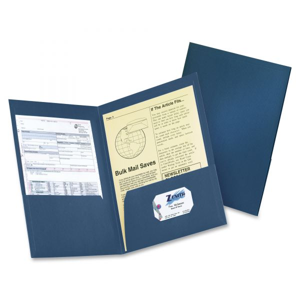 Oxford Honeycomb High-Capacity Twin Pocket Folders, 225 Sheet Capacity, Dark Blue, 4/Pack