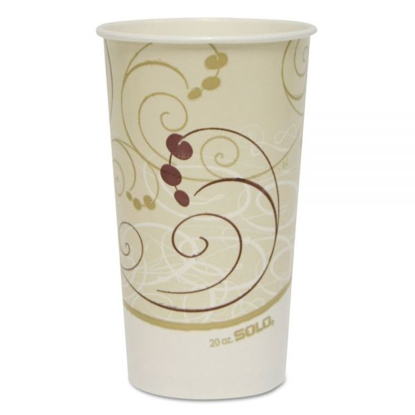 Dart Symphony Paper Cold Cups, 20oz, White/Beige/Burgundy, Polycoated Paper, 1000/CT