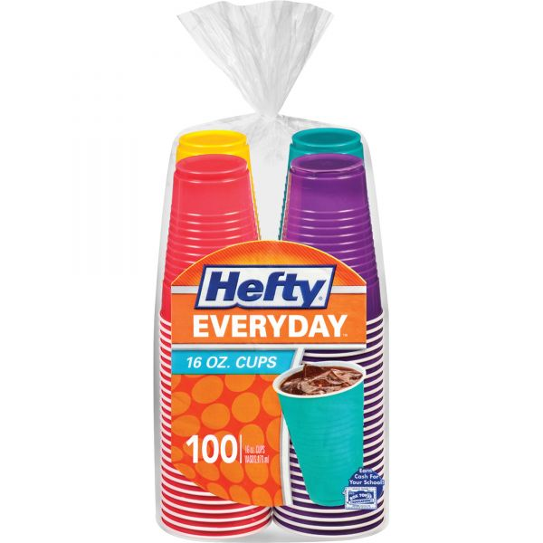 Hefty Easy Grip Disposable 16 oz Plastic Party Cups