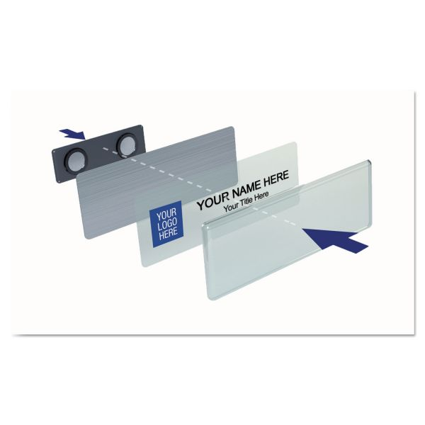 The Mighty Badge Name Badge Kit, Laser Inserts, 1 x 3, White/Silver, 10 Kits