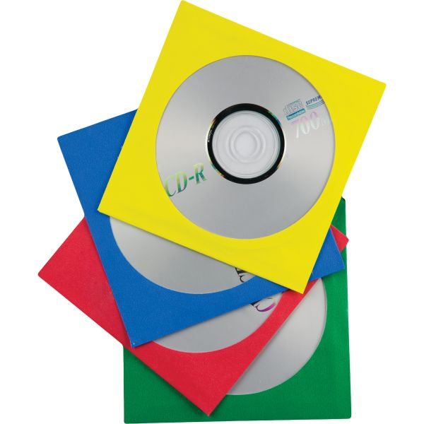 Quality Park Colored Paper CD/DVD Sleeves, Assorted, 50 per Box
