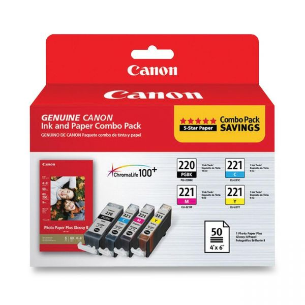 Canon PGI-220 Black/CLI-221 Color Ink Cartridges & Photo Paper Combo Pack
