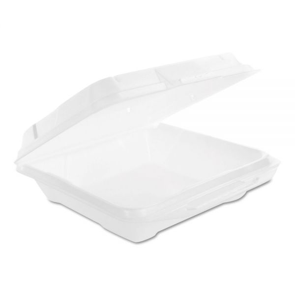 Genpak Hinged Carryout Containers, Foam, White, Vented, 9 1/4W x 9 1/4D x 3H, 200/CT
