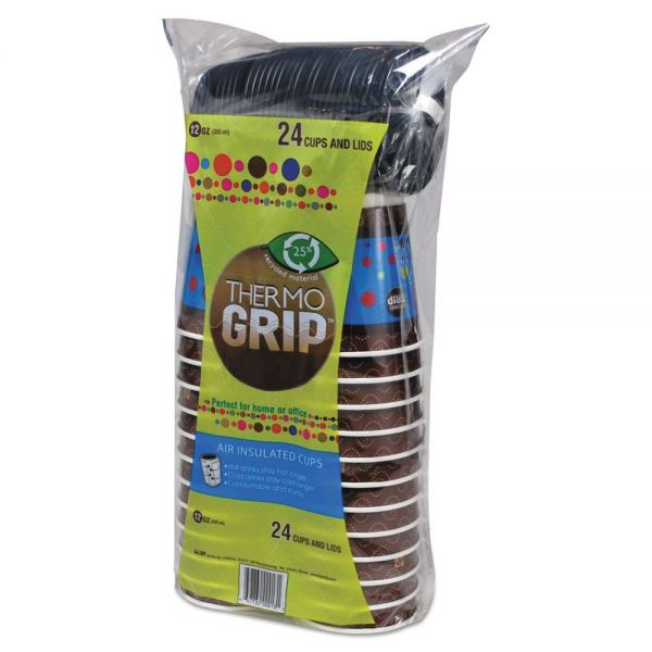LBP Thermo Grip 12 oz Coffee Cups with Lids