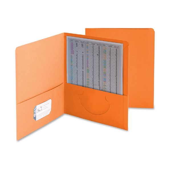 Smead Two-Pocket Folder, 100-Sheet Capacity, Orange, 25/Box