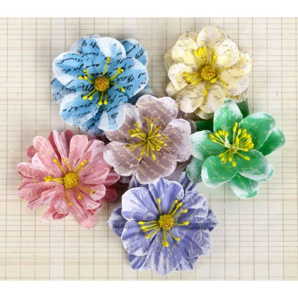 "Labelle Paper Flowers 1.5"" To 2"" 6/Pkg"