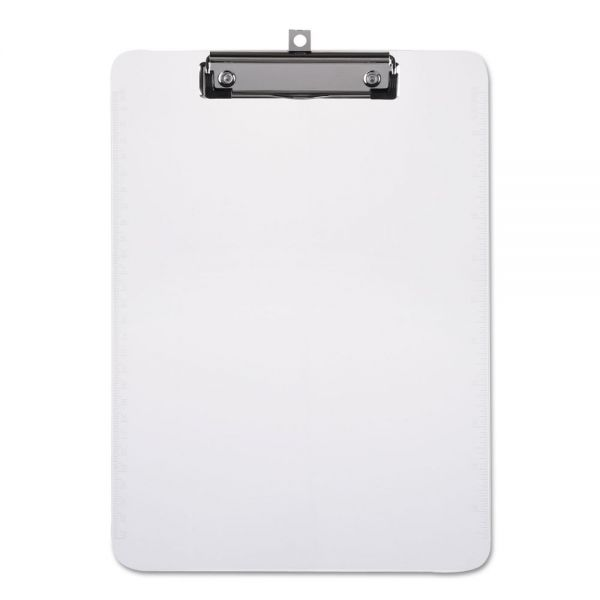"""Universal Plastic Clipboard with Low Profile Clip 1/2"""" Capacity, Holds 8 1/2 x 11, Clear"""