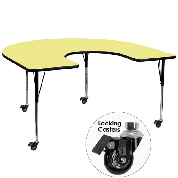 Flash Furniture Mobile Height Adjustable Horseshoe Shaped Activity Table