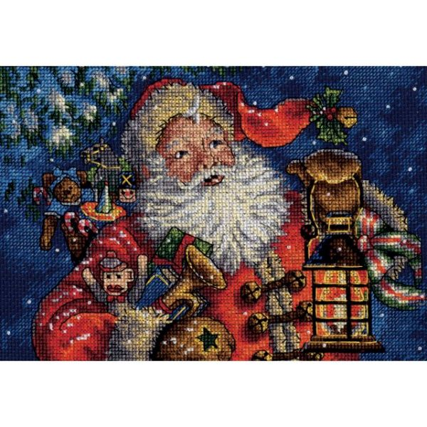 Gold Petite Nightime Santa Counted Cross Stitch Kit