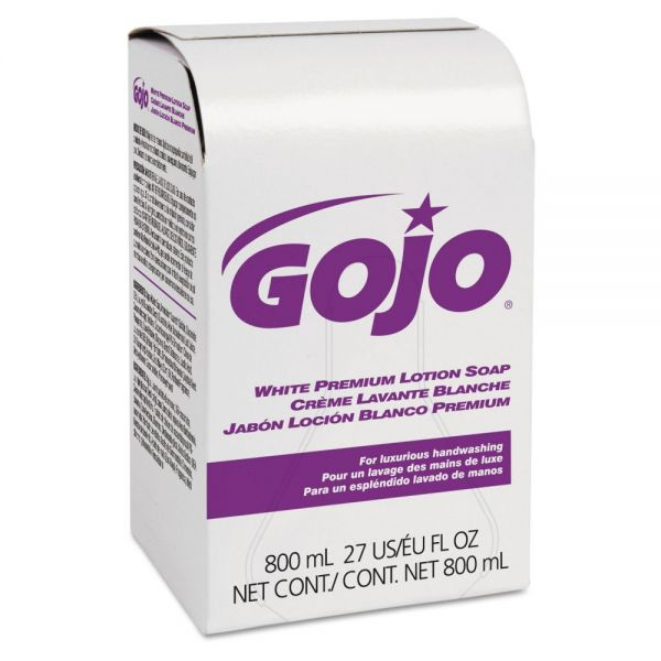 GOJO White Premium Lotion Soap, Spring Rain Scent, 800 ml Refill, 12/Carton