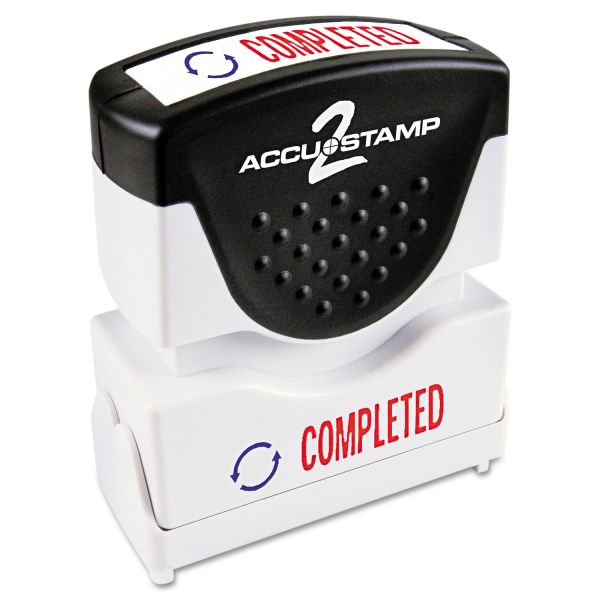 ACCUSTAMP2 Pre-Inked Shutter Stamp with Microban, Red/Blue, COMPLETED, 1 5/8 x 1/2