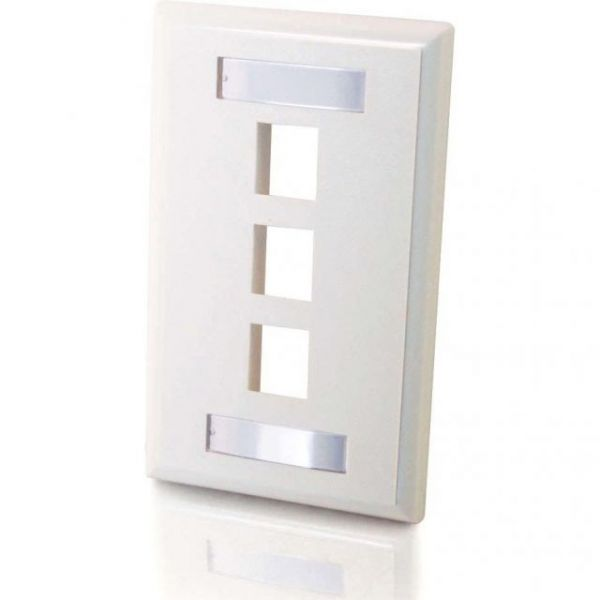 C2G 3-Port Single Gang Multimedia Keystone Wall Plate - White