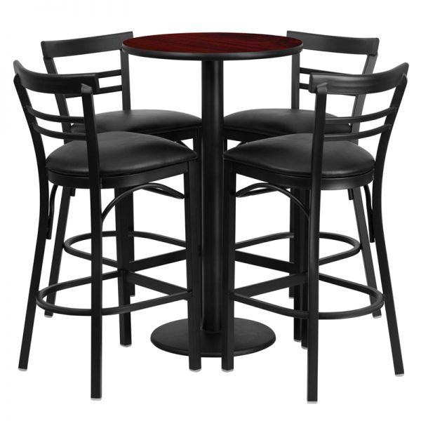 Flash Furniture 24'' Round Mahogany Laminate Table Set with 4 Ladder Back Metal Barstools - Black Vinyl Seat