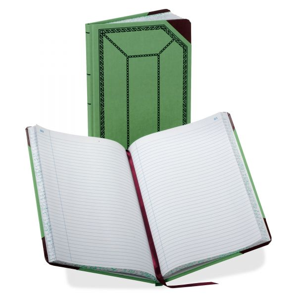 Boorum & Pease Record/Account Book, Record Rule, Green/Red, 150 Pages, 12 1/2 x 7 5/8